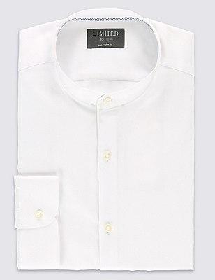 Granddad Collar Super Slim Fit Shirt, WHITE, catlanding