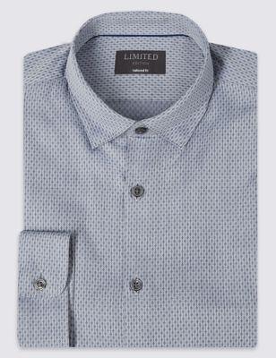 Рубашка из чистого хлопка добби с принтом Diamond Limited Edition T110481Z