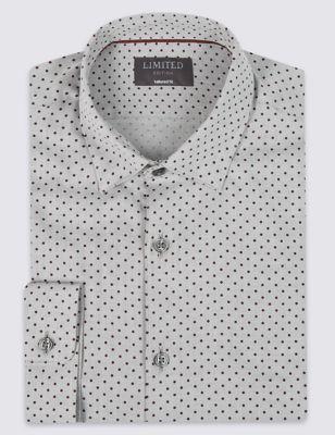 Текстурная рубашка из чистого хлопка в мелкий горошек