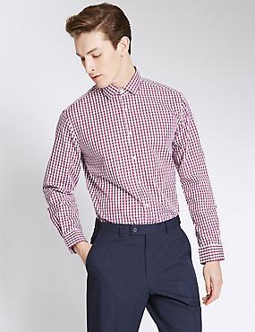 Pure Cotton Easy to Iron Tailored Fit Shirt, DARK WINE, catlanding