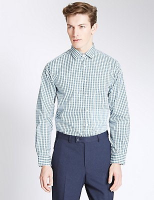 Pure Cotton Easy to Iron Tailored Fit Shirt, TEAL, catlanding