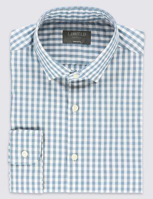 Слегка приталенная рубашка Easy to Iron из чистого хлопка в клетку гингам с воротником-визиткой