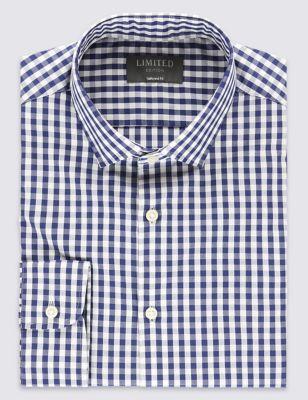 Слегка приталенная рубашка Easy to Iron из чистого хлопка в клетку гингам с воротником-визиткой Limited Edition T110500Z