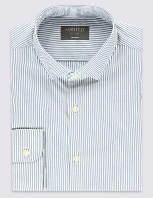 Слегка приталенная рубашка Easy to Iron из чистого хлопка в полоску с воротником-визиткой