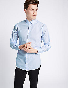 Pure Cotton Easy to Iron Tailored Fit Shirt, SKY BLUE, catlanding