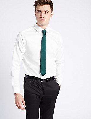 Pure Cotton Tailored Fit Textured Shirt , WHITE, catlanding