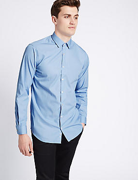 Pure Cotton Tailored Fit Textured Shirt , BLUE, catlanding