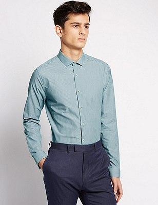 Striped Super Slim Fit Shirt, BLUE MIX, catlanding