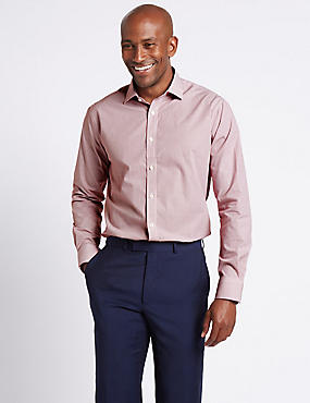 Pure Cotton Easy to Iron Tailored Fit Shirt, RED, catlanding