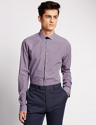 2in Longer Super Slim Fit Grid Checked Shirt, BLUE MIX, catlanding