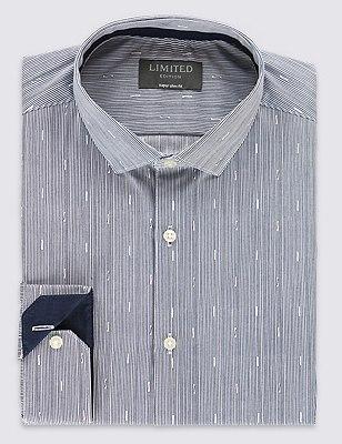 Super Slim Fit Broken Striped Shirt, NAVY MIX, catlanding