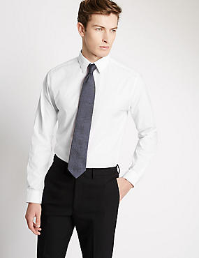 Cotton Rich Easy to Iron Slim Fit Shirt, WHITE, catlanding