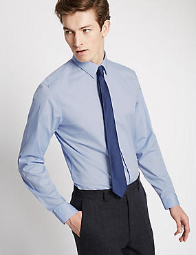 Cotton Rich Easy to Iron Slim Fit Shirt, BLUE, catlanding