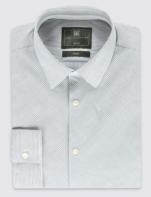 Рубашка слим в косую полоску с добавлением стретчевого волокна