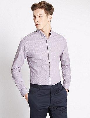 Geometric Print Easy to Iron Super Slim Fit Shirt, AUBERGINE, catlanding