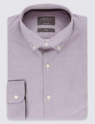 Рубашка суперслим Easy to Iron с принтом и воротником на пуговицах