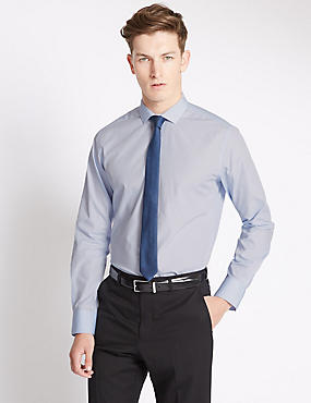 Slim Fit Easy to Iron Plain Shirt with Tie, BLUE MIX, catlanding
