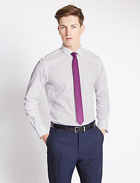 Slim Fit Easy to Iron Plain Shirt with Tie, WHITE MIX, catlanding