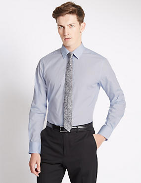 Slim Fit Easy to Iron Shirt with Tie, BLUE MIX, catlanding