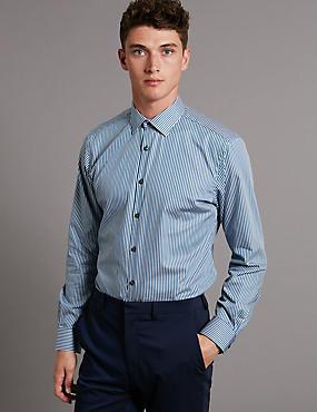 Pure Cotton Tailored Fit Long Sleeve Shirt, BLUE MIX, catlanding