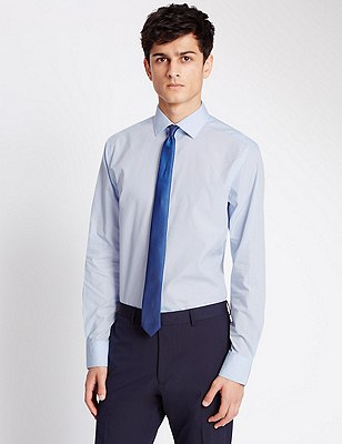 Long Sleeve Slim Fit Shirt with Tie, BRIGHT BLUE, catlanding
