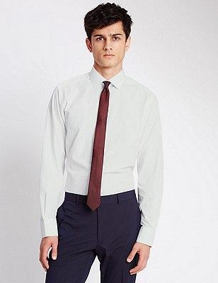Long Sleeve Slim Fit Shirt with Tie, ORANGE MIX, catlanding