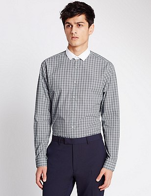 Super Slim Fit Winchester Prince of Wales Checked Shirt, GREY MIX, catlanding