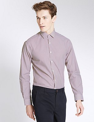 Pure Cotton Easy to Iron Slim Fit Shirt, DARK WINE, catlanding