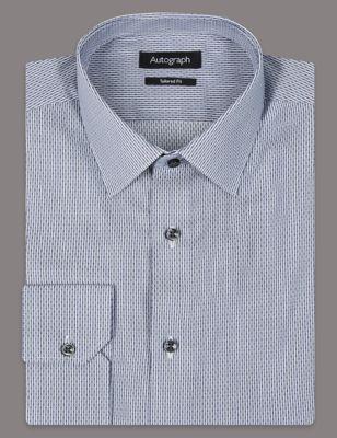 Слегка приталенная рубашка из чистого хлопка с мелким комбинированным принтом