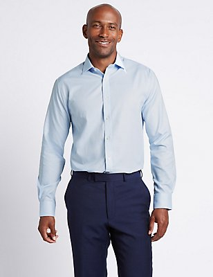 Pure Cotton Easy to Iron Tailored Fit Shirt, MID BLUE, catlanding