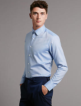 Pure Cotton Tailored Fit Textured Shirt, LIGHT BLUE, catlanding