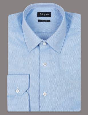 Слегка приталенная текстурная рубашка из люксового хлопкового волокна Supima® Autograph T110531A