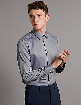 Pure Cotton Tailored Fit Textured Shirt, INDIGO, catlanding