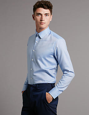 2in Longer Pure Cotton Tailored Fit Shirt, LIGHT BLUE, catlanding