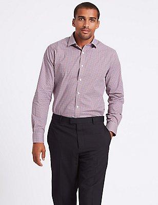 Hemd aus reiner Baumwolle in maßgeschneiderter Passform, bügelleicht, ROT MELANGE, catlanding