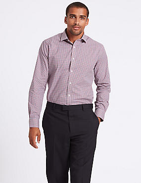 Pure Cotton Easy to Iron Tailored Fit Shirt, RED MIX, catlanding