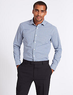 Pure Cotton Easy to Iron Tailored Fit Shirt, NAVY MIX, catlanding