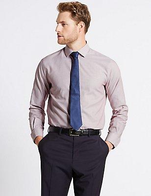 Hemd aus reiner Baumwolle in maßgeschneiderter Passform, bügelleicht, ROT, catlanding