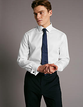 Pure Cotton Tailored Fit Textured Shirt, WHITE, catlanding