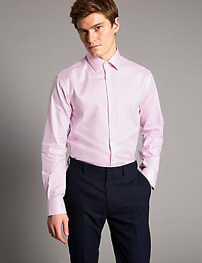 Pure Cotton Tailored Fit Textured Shirt , PINK, catlanding