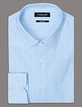 Pure Cotton Tailored Fit Striped Shirt, LIGHT BLUE, catlanding
