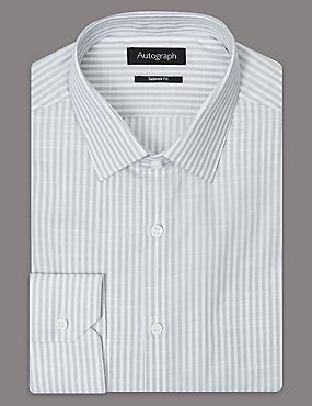 Pure Cotton Tailored Fit Striped Shirt, GREY MIX, catlanding