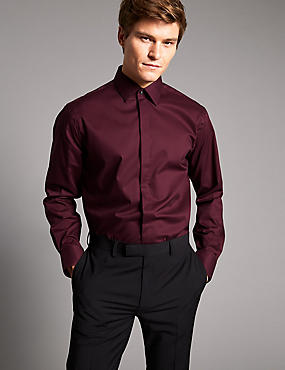 Cotton Rich Tailored Fit Shirt with Stretch, DARK WINE, catlanding