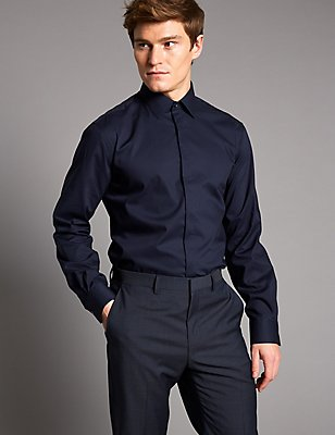 Cotton Rich Tailored Fit Shirt with Stretch, DARK NAVY, catlanding