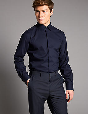 Pure Cotton Tailored Fit Shirt with Stretch, DARK NAVY, catlanding