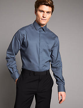 Cotton Rich Tailored Fit Shirt with Stretch, STEEL, catlanding