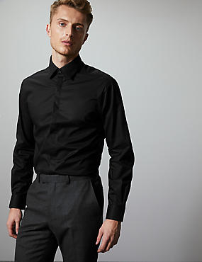 Cotton Rich Tailored Fit Shirt with Stretch, BLACK, catlanding