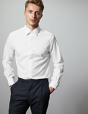 Cotton Rich Tailored Fit Shirt with Stretch, WHITE, catlanding
