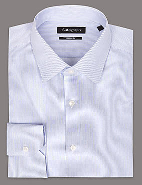 Pure Cotton Tailored Fit Striped Shirt, MEDIUM BLUE MIX, catlanding