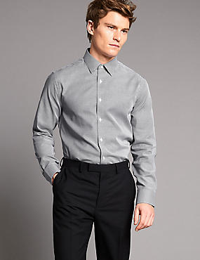 Pure Cotton Tailored Fit Textured Shirt, DARK WINE, catlanding